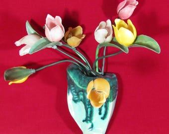 Vintage Night Lamp Tulips in Vase, Decorative Wall Night Light Flowers, Retro Home Decor USSR