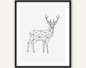 Christmas Deer Print Geometric Wall Art Origami Animal Modern Minimalist Printable Poster Black And White Decour Low Poly
