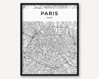 Paris Map Black And White.Paris Map Print Etsy