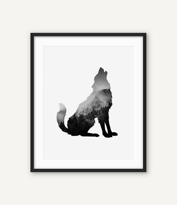Digital Wolf Print Printable Black And White Animal Wall Art Abstract Poster Minimalist Modern Decor Forest Scandinavian Nursery Print