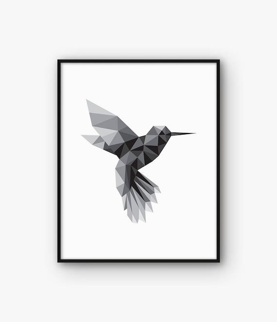 Minimalista Arte De Pared Pájaro Colibríes Geométrico Cartel Etsy