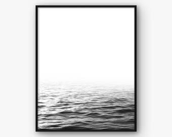 Ocean Wall Art, Black and White Sea Print, Minimalist Print, Ocean Poster, Black and White Print, Minimalist Wall Art, Ocean Printable