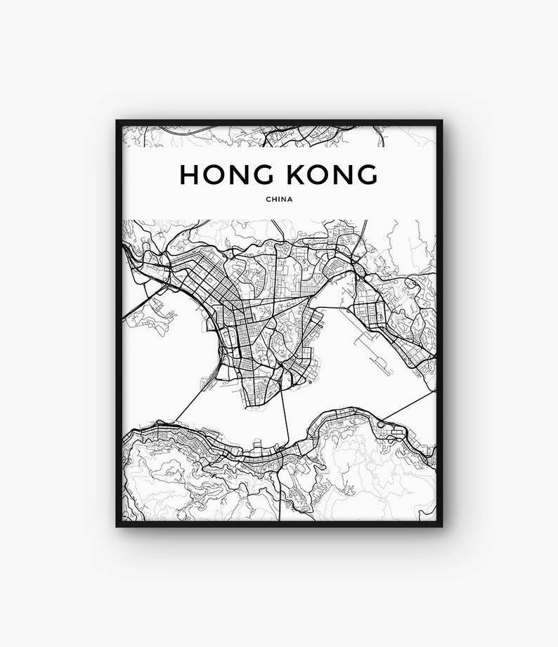 photograph relating to Printable China Map named Hong Kong Map Print, Printable Map, Hong Kong Poster, Hong Kong Wall Artwork, China Map, Drive Print, Metropolis Map Wall Artwork, Generate Poster, 5x7