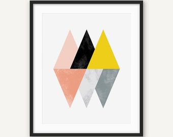 Scandinavian Print, Nordic Wall Art, Geometric Poster, Modern Minimalist Abstract Printable Poster, Triangle, Blush, Yellow, Black, Grey