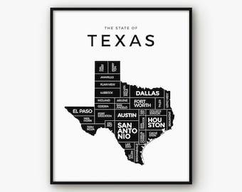 Texas Map, Texas Print, Texas Poster, Texas State, Texas Art, 5x7 Print, Texas Wall Art, Map of Texas, Black and White Map, Printable Map