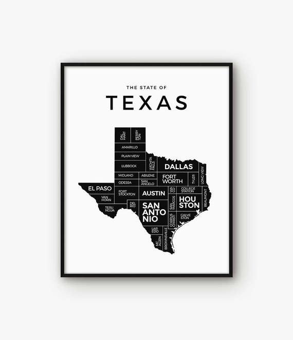 Map Of Texas Please.Texas Map Texas Print Texas Poster Texas State Texas Art 5x7 Print Texas Wall Art Map Of Texas Black And White Map Printable Map