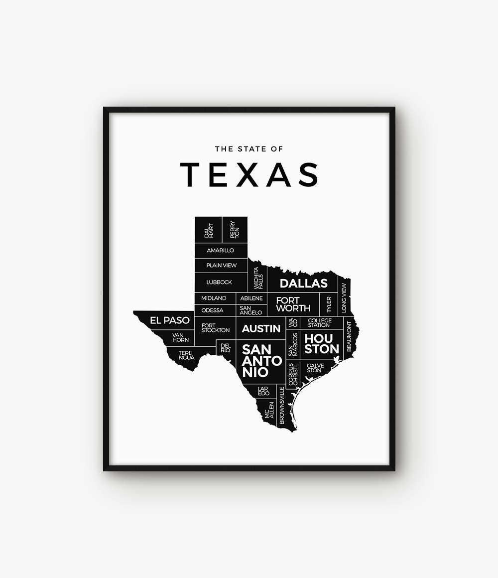 Texas Karte Texas Druck Texas Poster Texas State Texas | Etsy