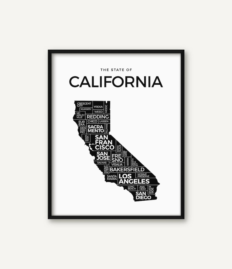 photograph relating to California State Map Printable called California Print, California Map Print, California Poster, California Nation Decor, California Artwork, Black and White California Wall Artwork