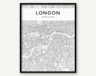 London Map Print, London Poster, London Wall Art, London City Map, Black and White Map of London Printable, London Map, UK, United Kindgom