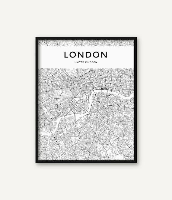 London Map Print London Poster London Wall Art London City Etsy