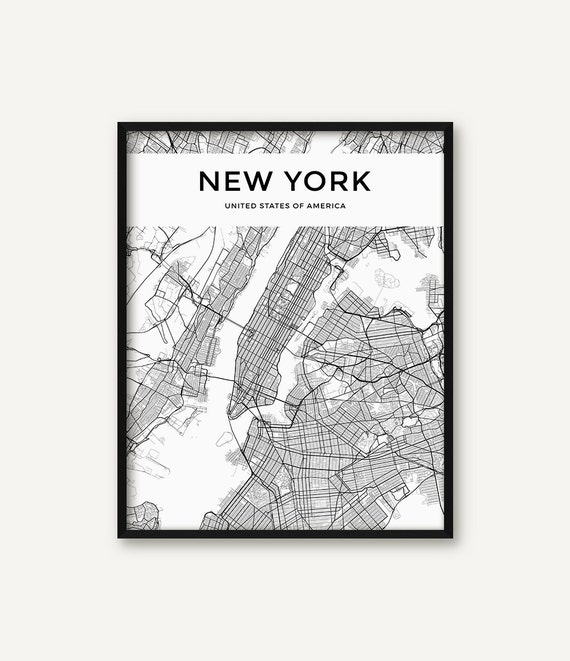 New York Map Black And White.New York City Map Print Map Of New York Black And White New Etsy