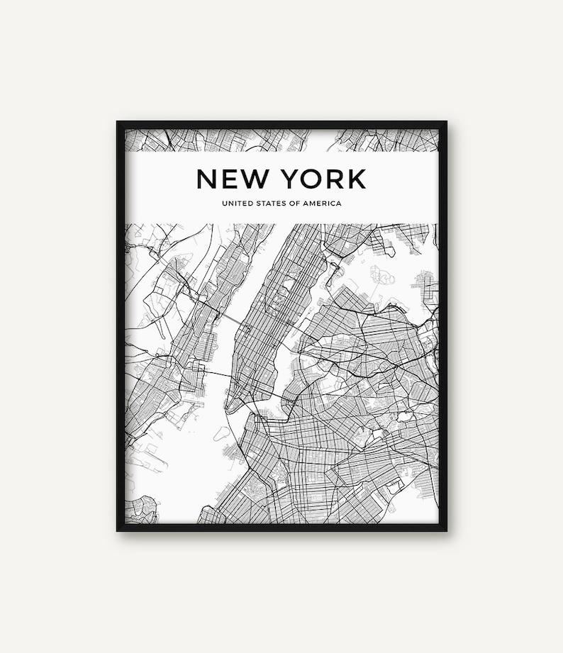 New York City Map Print, Map of New York, Black and White New York Decor,  New York Wall Art, New York Map, Modern Print, Minimalist Print