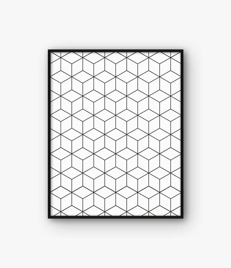 Kostka Wydruku Geometryczne Na ścianę Plakat Minimalistyczny Czerni I Bieli Czerni I Bieli Skandynawskie Nordic Decor Abstrakcja Sztuka Cyfrowa Do