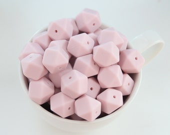 Pastel pink hexagon silicone beads / Perfect for baby teething toys / Safe for teething / Choose amount