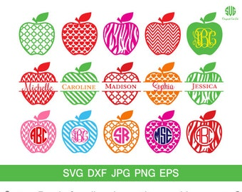 Apple Monogram frames SVG, Apple chevron Monogram Frame svg, png, eps, dxf, Circle Frames Svg,Apple Split Monogram Svg,silhouette svg cricut