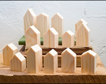 Village In A Box (Smaller Size): The original Village In A Box - Miniature Small Wooden Buildings Houses DIY Craft Mindfulness Project