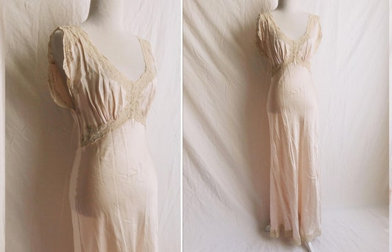 1930s Fischer Heavenly Silk and Lace Maxi Slip