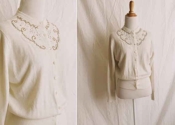 1940s Beaded Orlon Cardigan Sweater