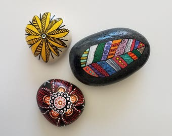 Bohemian Hand Painted Stones / Rock Art / Pebbles / Garden Stones