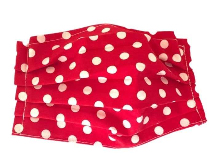 Face Mask, Red with White Polka Dots Face Mask, Reusable Face Mask, Washable Face Mask, Adult Face Mask, Made in USA, Cotton face mask