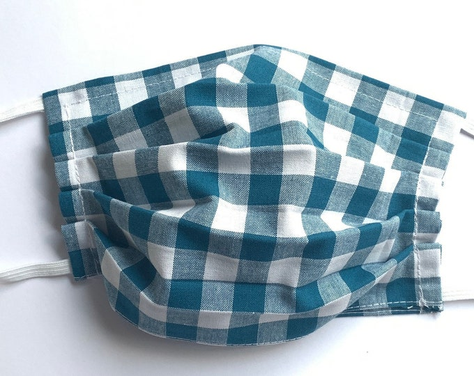Face Mask,Teal Blue Checkered Face Mask, Reusable Face Mask, Washable Face Mask, Adult Face Mask, Made in USA, Cotton face mask
