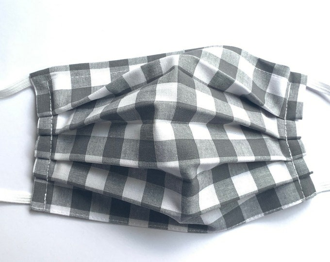 Face Mask,Gray Checkered Face Mask, Reusable Face Mask, Washable Face Mask, Adult Face Mask, Made in USA, Cotton face mask