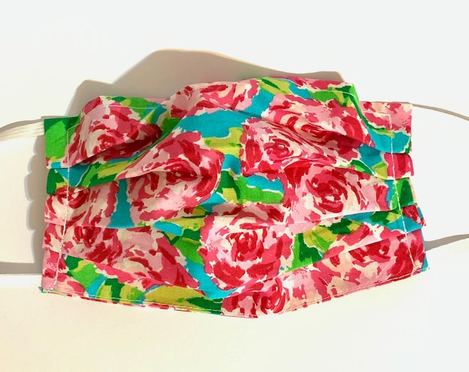 Face Mask, Pink Floral Face Mask, Reusable Face Mask, Washable Face Mask, Adult Face Mask, Made in USA, Cotton face mask