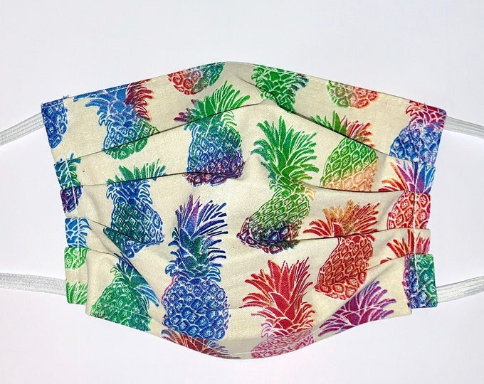 Face Mask, Pineapple Face Mask / Reusable Face Mask / Washable Face Mask / Adult Face Mask / Made in USA