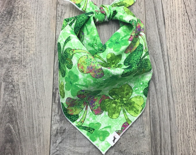 St. Patrick's Dog Bandana, Shamrock Dog Bandana, Green Dog Bandana, Tie On Bandana