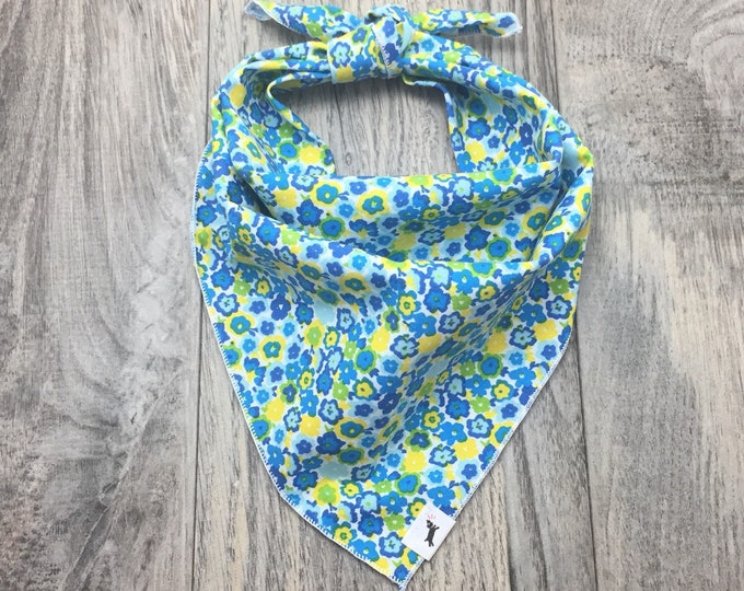 Blue and Yellow Floral Dog Bandana, Floral Dog Beach Bandana, Pet Bandana, Fun Dog Bandana, Tie On Bandana