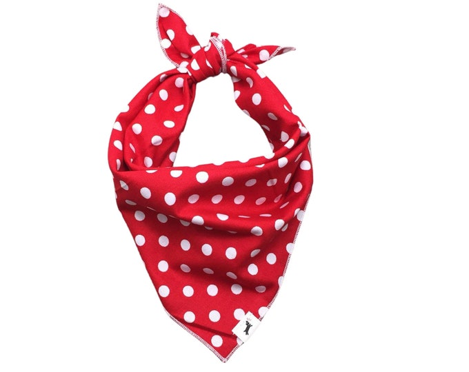 Red Polka Dot Bandana, Polka Dot Dog Bandana, Pet Bandana, Red Dot Dog Bandana, Dog Scarf, Red Dog Bandana