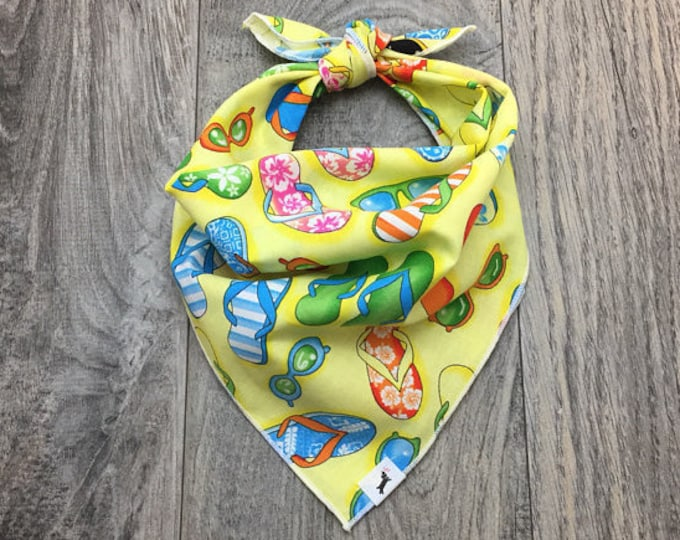 FlipFlop Dog Bandana, Beach Dog Bandana, Pet Bandana, FlipFlop Bandana, Tie On Bandana