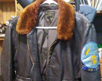 9f7f8a7fa83 Vintage 1960s USN G-1 US Navy Brown Leather Military Bomber Flight Jacket  Sz 46