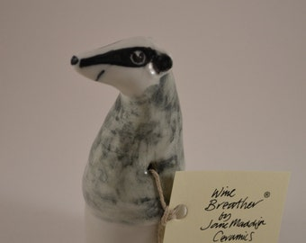 Wine Bottle Stopper Breather, Brock the Badger, Hand Made, Hand Decorated in Porcelain