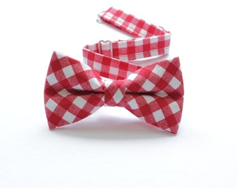 b6bb46d11280 Red Gingham picnic bow tie, boy bow ties, red bow tie, gingham plaid  checkered bow tie, red white gingham, summer picnic bow tie