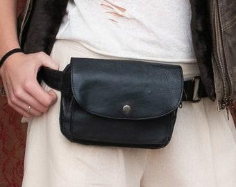 Hip Bag Hip Bag Bag Hip Shoulder Bag Leather Bag / Black / Adjustable Strap / Handmade / Unisex