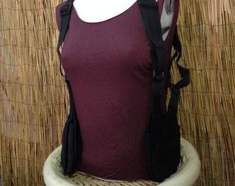 Cover boxes Festival BARCELONA shoulder holster bag waist pouch utility belt cotton sling bag / black / Adjustable strap / Hand made