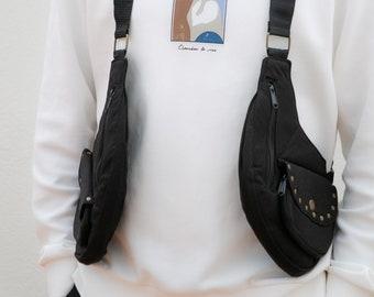 Cartucheras Festival model VIETNAM PLUS shoulder holster bag waist pouch utility belt cotton sling bag / Adjustable Straps / Hand made