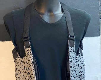 Festival shoulder BARCELONA holster bag waist pouch utility belt cotton sling bag / color black +grey / Adjustable strap / Hand made