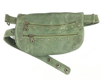Hip Fanny Pack Bandolera Hip Bag Travel Bag Leather Bag / Green Color / Adjustable Strap / Handmade / Unisex