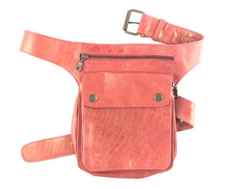 Hip Bag Bag CRO-XL Hip Bag Travel Bag Leather Bag / Red / Holster Bag / Leather Bag / Handmade / Unisex