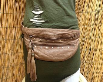 Hip Fanny Pack Bandolera Hip Bag Travel Bag Leather Leather Bag / Camel Color / Adjustable Strap / Handmade / Unisex