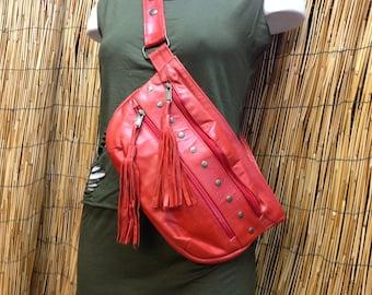 Hip Bag Hip Bag Bag Hip Shoulder Bag Leather Bag / Red / Adjustable Strap / Handmade / Unisex