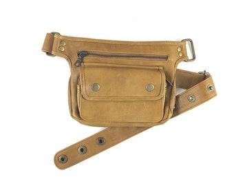 Hip Shoulder bag Hip Bag travel pouch leather handbag/camel color/adjustable strap/handmade/Unisex