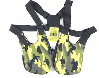 Festival shoulder BARCELONA holster bag waist pouch utility belt cotton sling bag / camouflage color / Adjustable strap / Hand made