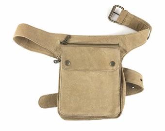 Hip Fanny Pack Bandolera Hip Bag Travel Bag Leather Bag / Natural Leather Color / Adjustable Strap / Handmade / Unisex