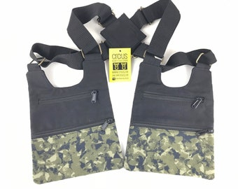 Festival shoulder SAN FRANCISCO holster bag waist pouch utility belt cotton sling bag pistolera saddlebags Holster vest / color black + print /