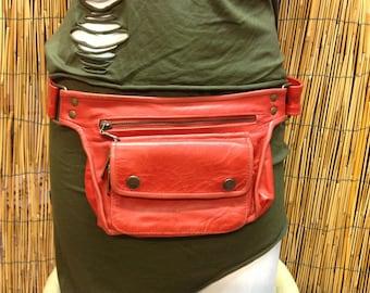 Hip shoulder bag Hip Bag handbag travel bag leather/red color/strap adjustable/handmade/Unisex