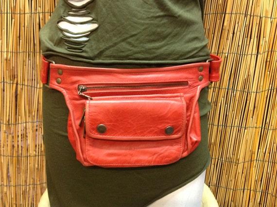Fanny Pack hip shoulder Hip Bag Handbag travel bag of fur leather  strap  hand made  Unisex