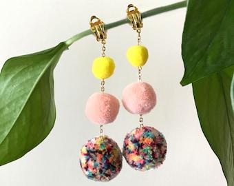 Pop colour pom pom earrings, yellow and pink pom pom earrings, rainbow pompom jewelry, gold chained earrings, festival clip on earrings,